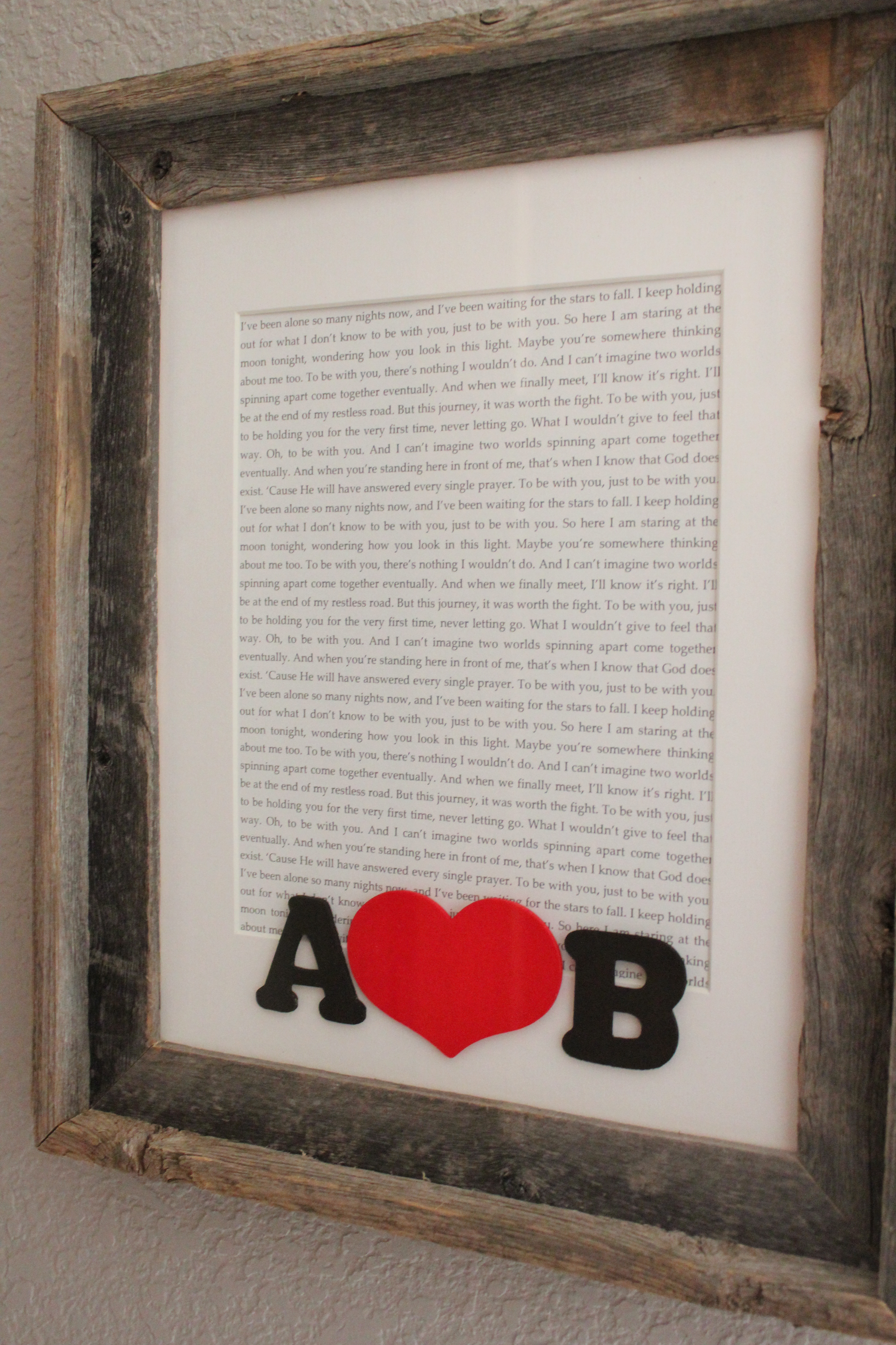Simple Idea: Framed Wedding Song Lyrics – Simply Being Abby