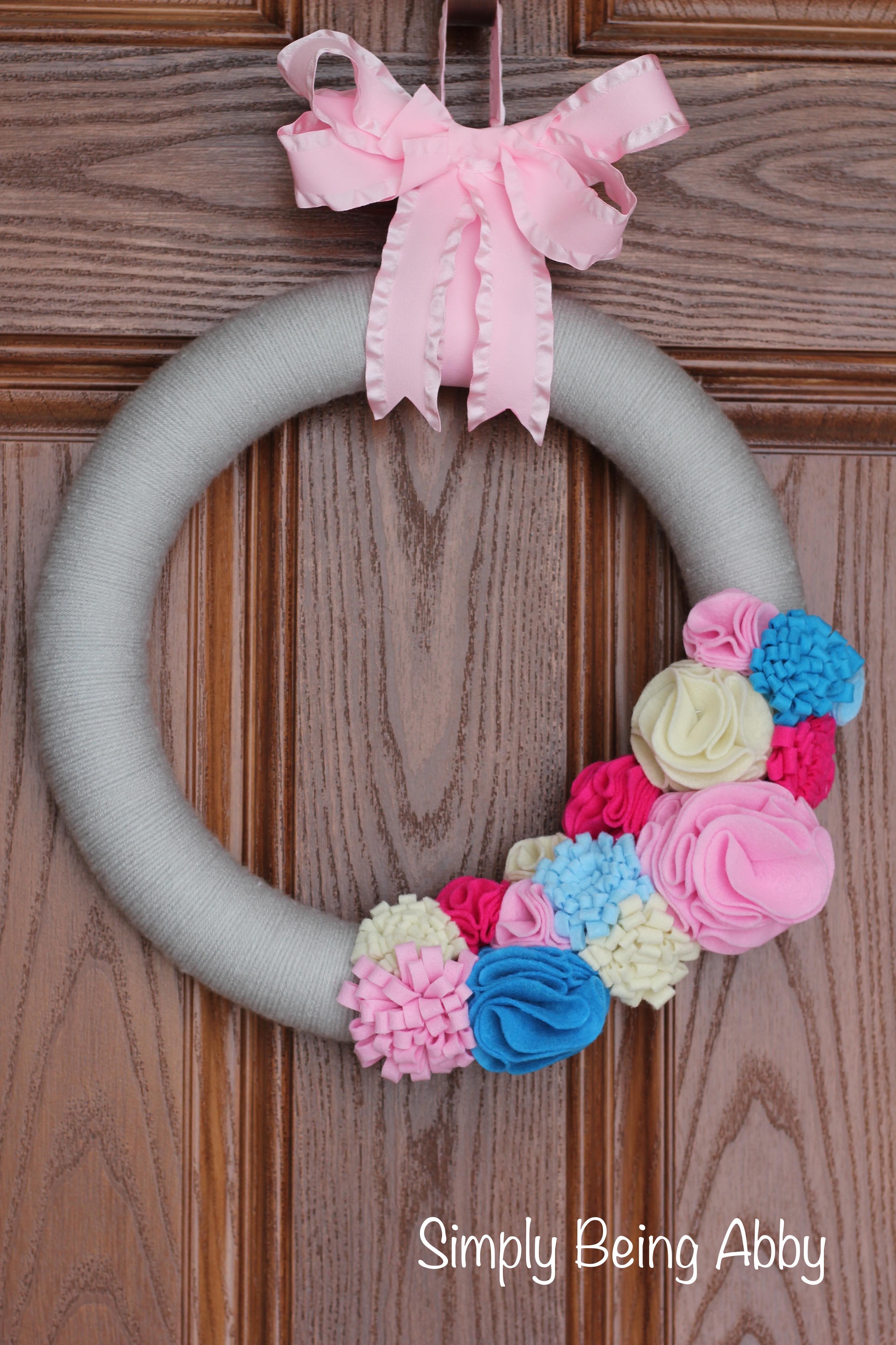 Diy Spring Yarn Wreath Simply Being Abby